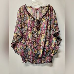 Sheer multi-color blouse